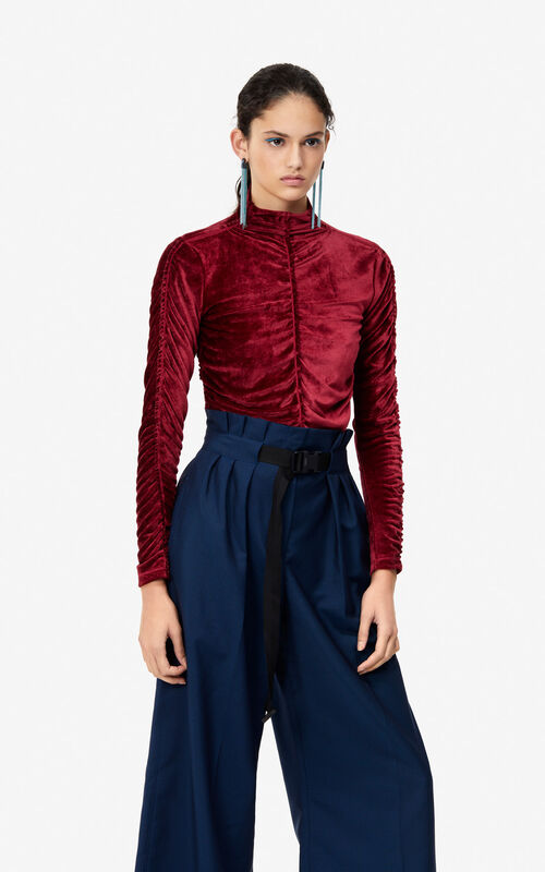 PEONY RED 24 Velvet roll neck top 'Holiday Capsule' for women KENZO