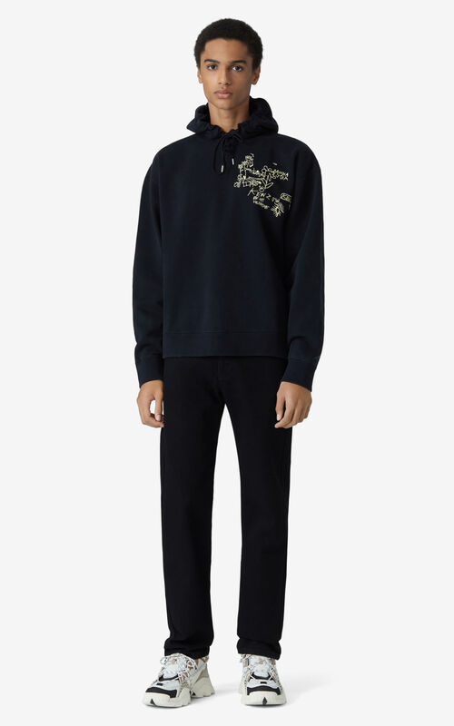 BLACK Oversize hooded sweatshirt for men KENZO