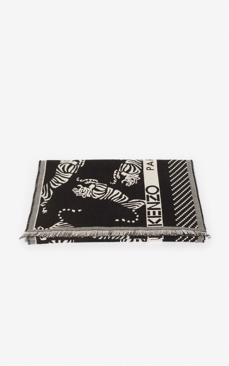 BLACK 'Jumping Tiger' wool scarf for unisex KENZO