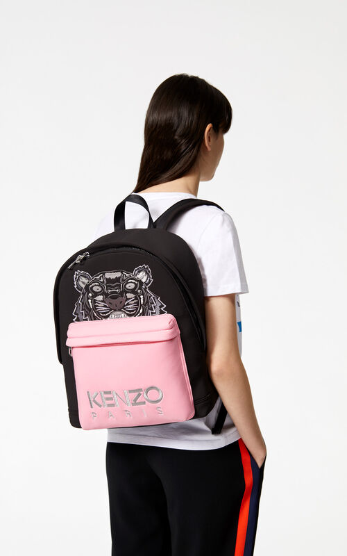 BLACK Large neoprene Tiger backpack for men KENZO