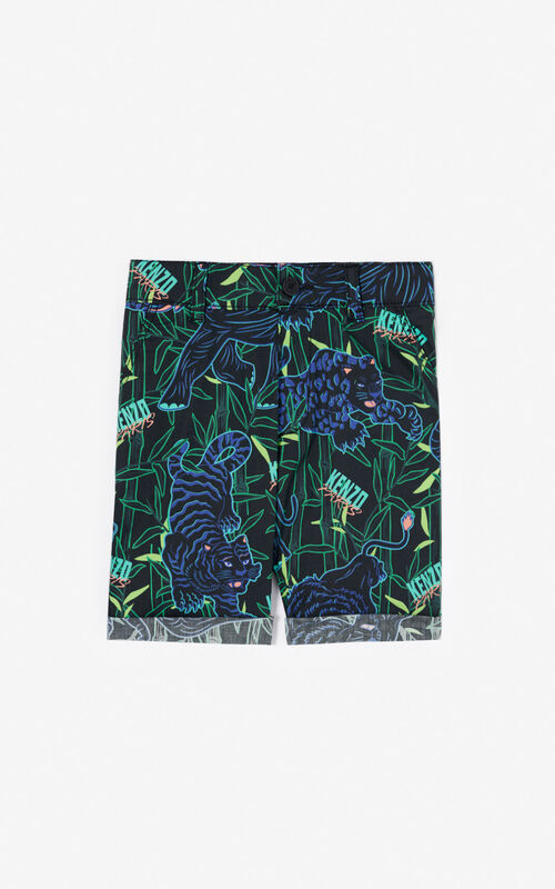 BLACK 'Disco Jungle' shorts with turn-ups for women KENZO