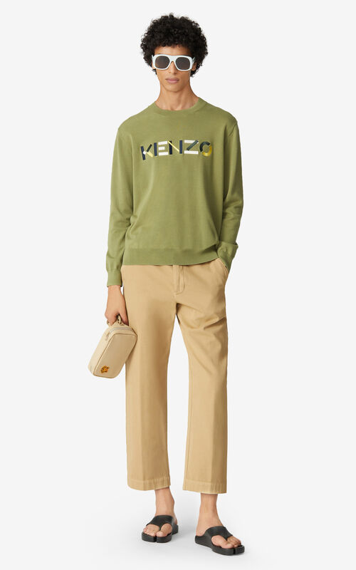 OLIVE Multicoloured KENZO Logo jumper for men
