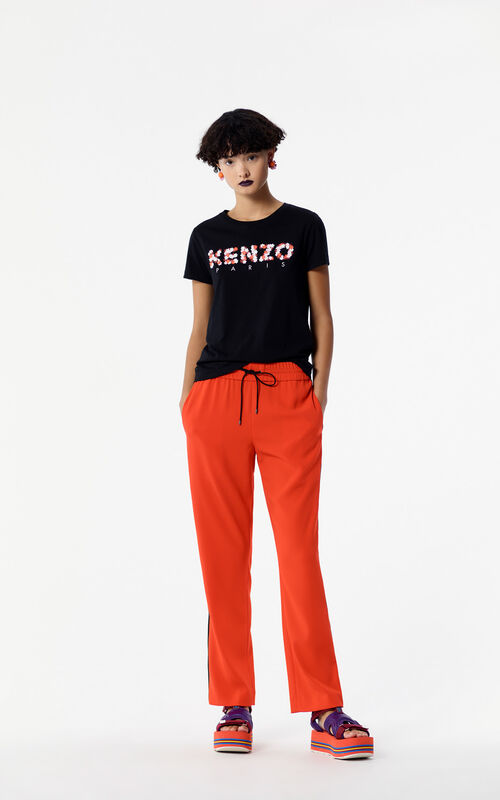 BLACK KENZO Paris 'Jackie Flowers' T-shirt for women