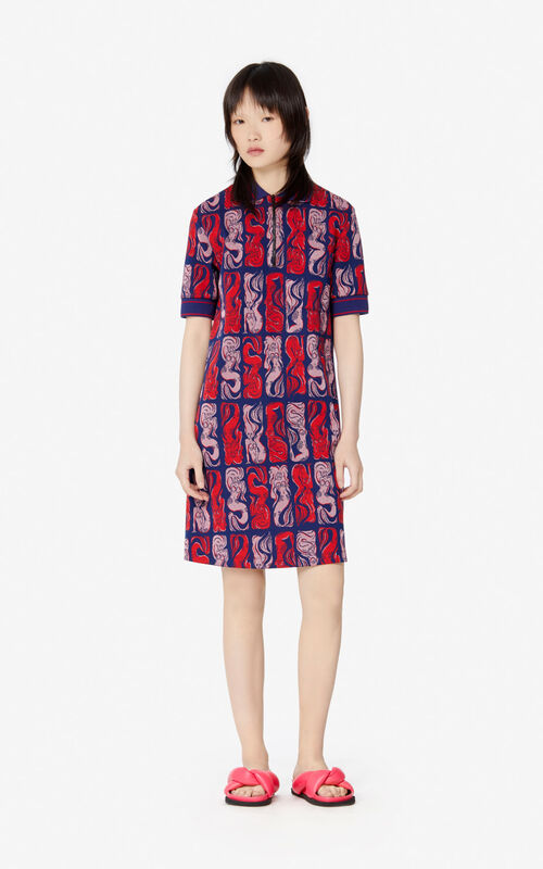 MIDNIGHT BLUE 'Mermaids' polo dress for women KENZO