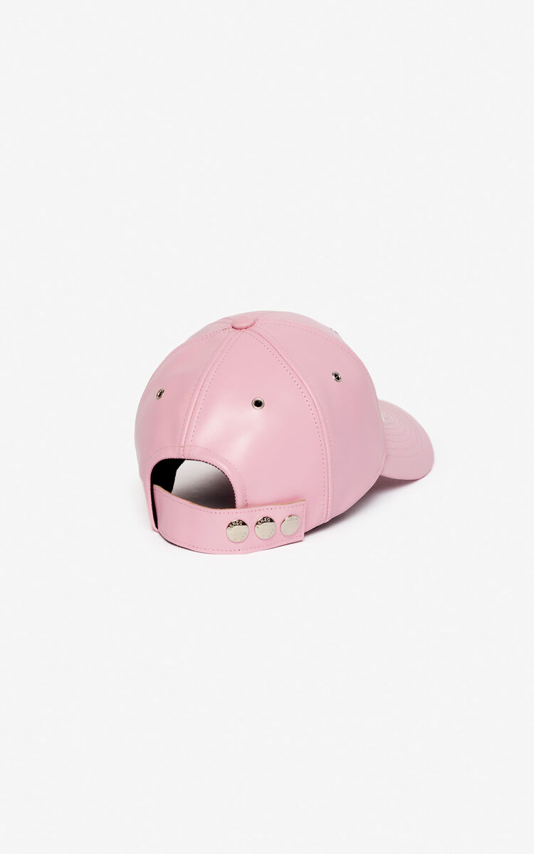 PASTEL PINK 'I ❤ KENZO Capsule' KENZO logo leather cap for women