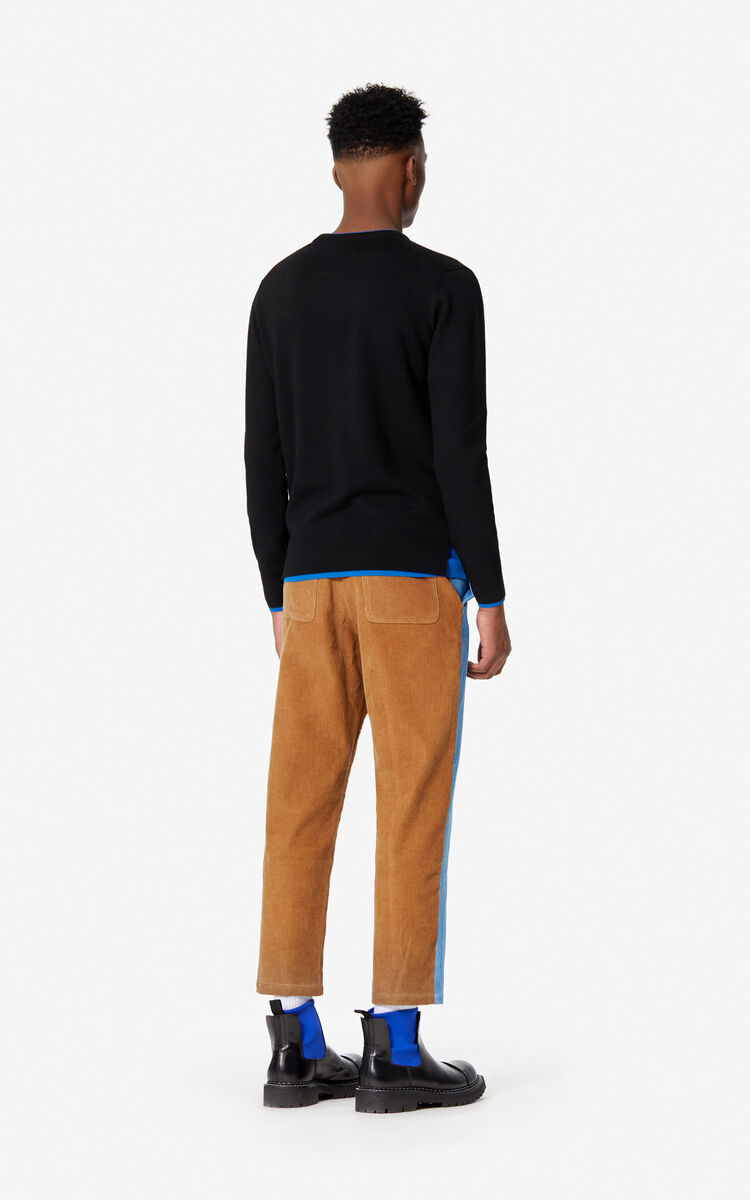 BLACK Woollen Tiger jumper for men KENZO