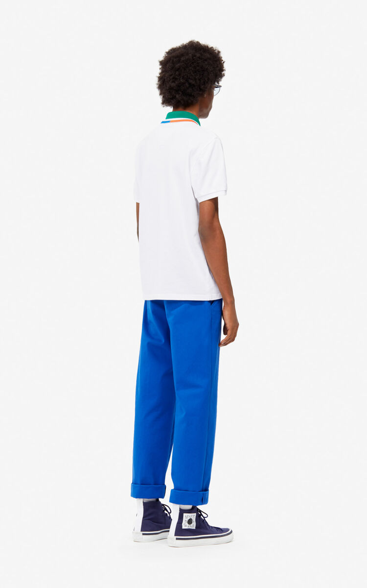 WHITE Fitted colorblock polo for women KENZO