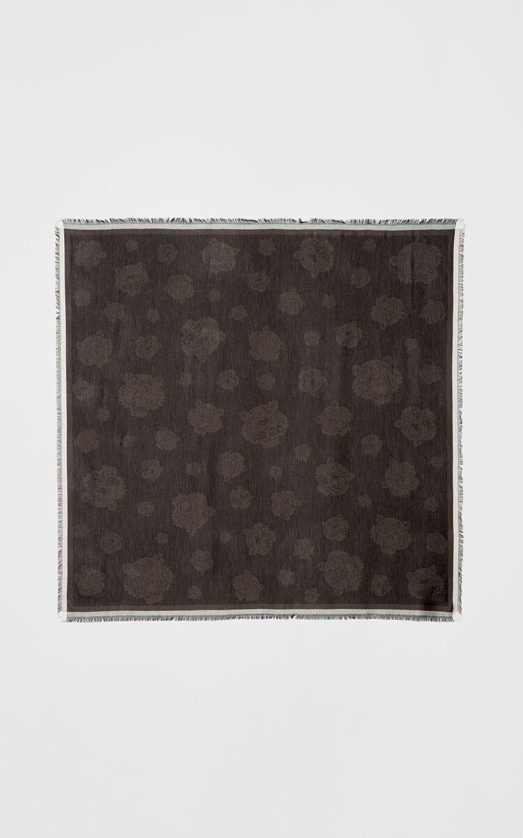 BLACK Large Multi Tiger Scarf for women KENZO