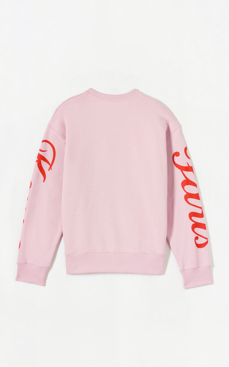 PASTEL PINK 'Jumping Tiger' fleece sweatshirt for women KENZO