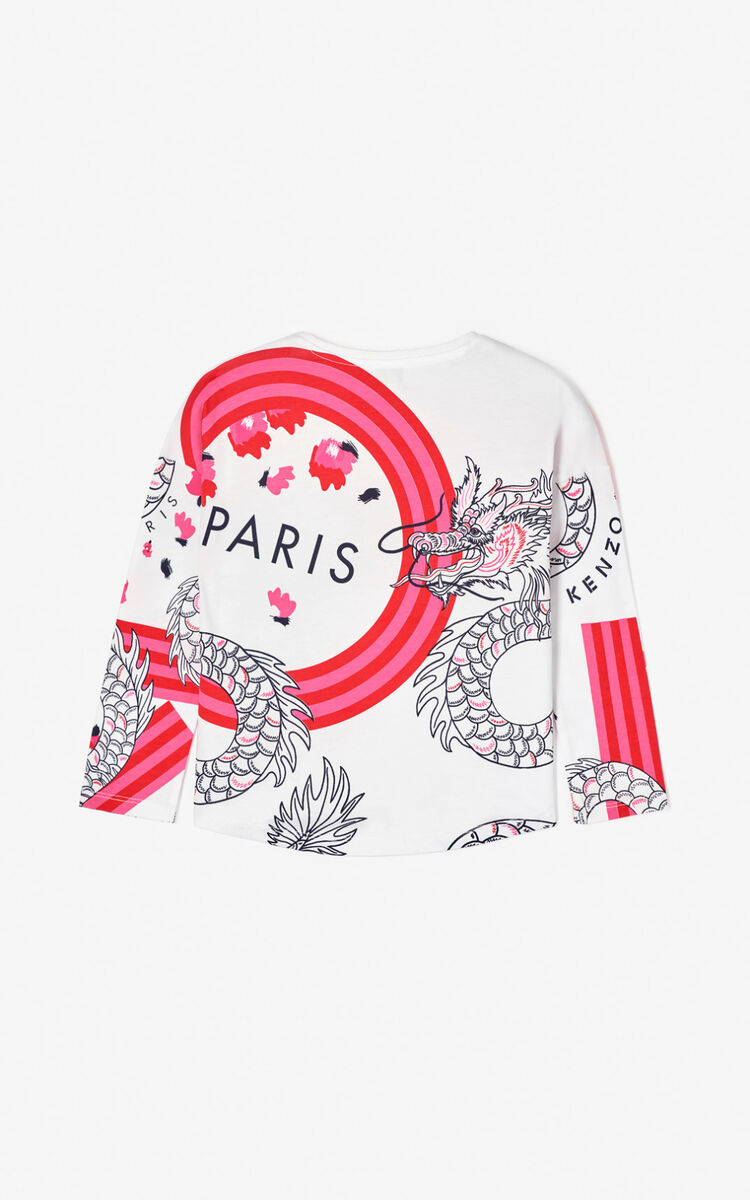 WHITE Multi-icon 'Japanese Flower' T-shirt for women KENZO