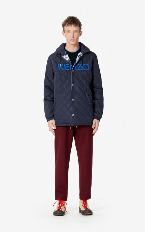 NAVY BLUE 'KENZO World' reversible parka for men
