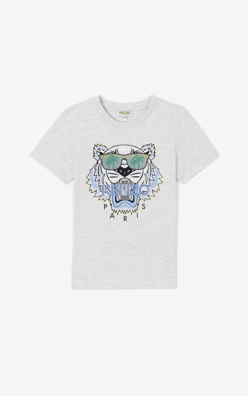 PALE GREY 'Cali Party' Tiger T-shirt for women KENZO