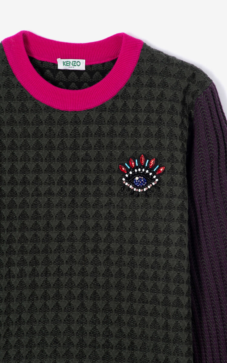 DARK KHAKI Colorblock Eye sweater for women KENZO
