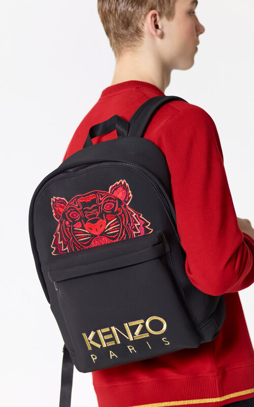 BLACK 'Chinese NY Capsule Collection' Large Tiger Neoprene Backpack for men KENZO