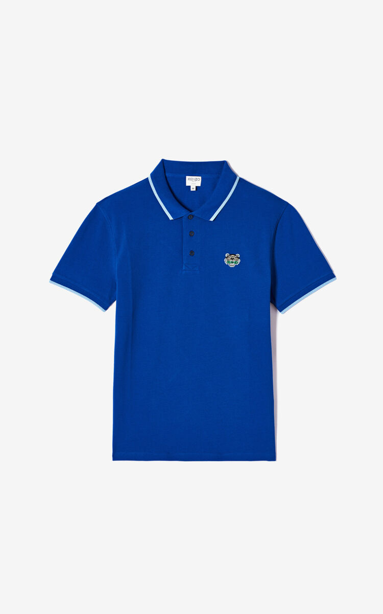 SLATE BLUE Fitted Tiger polo shirt for men KENZO