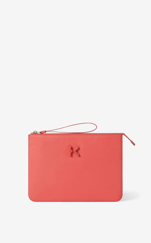 PEACH KENZO K leather clutch for unisex