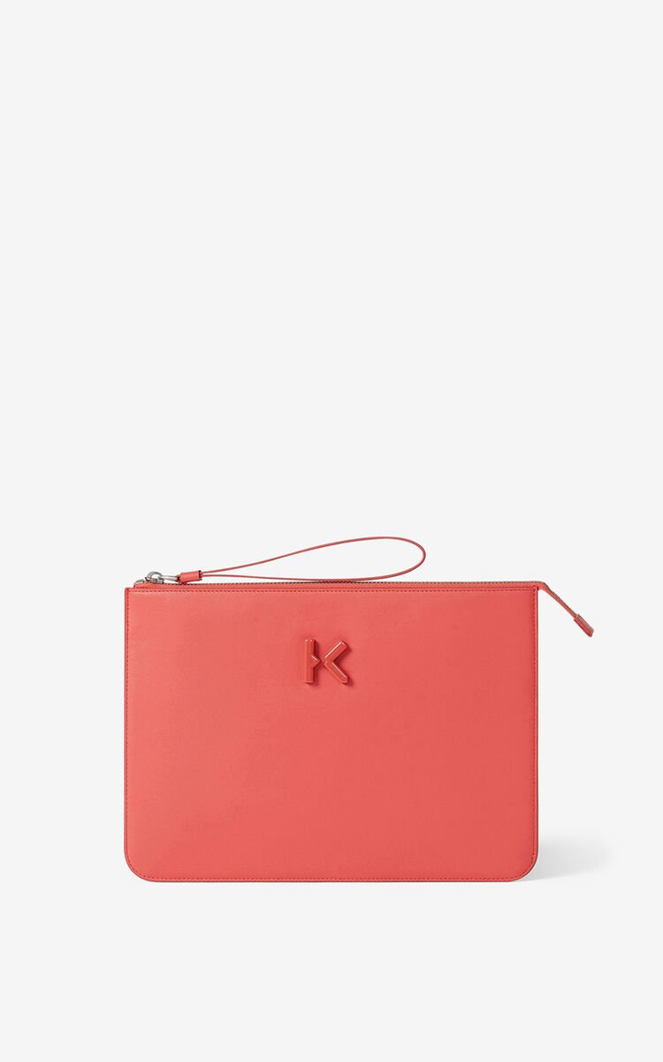 PEACH KENZO K leather clutch for women