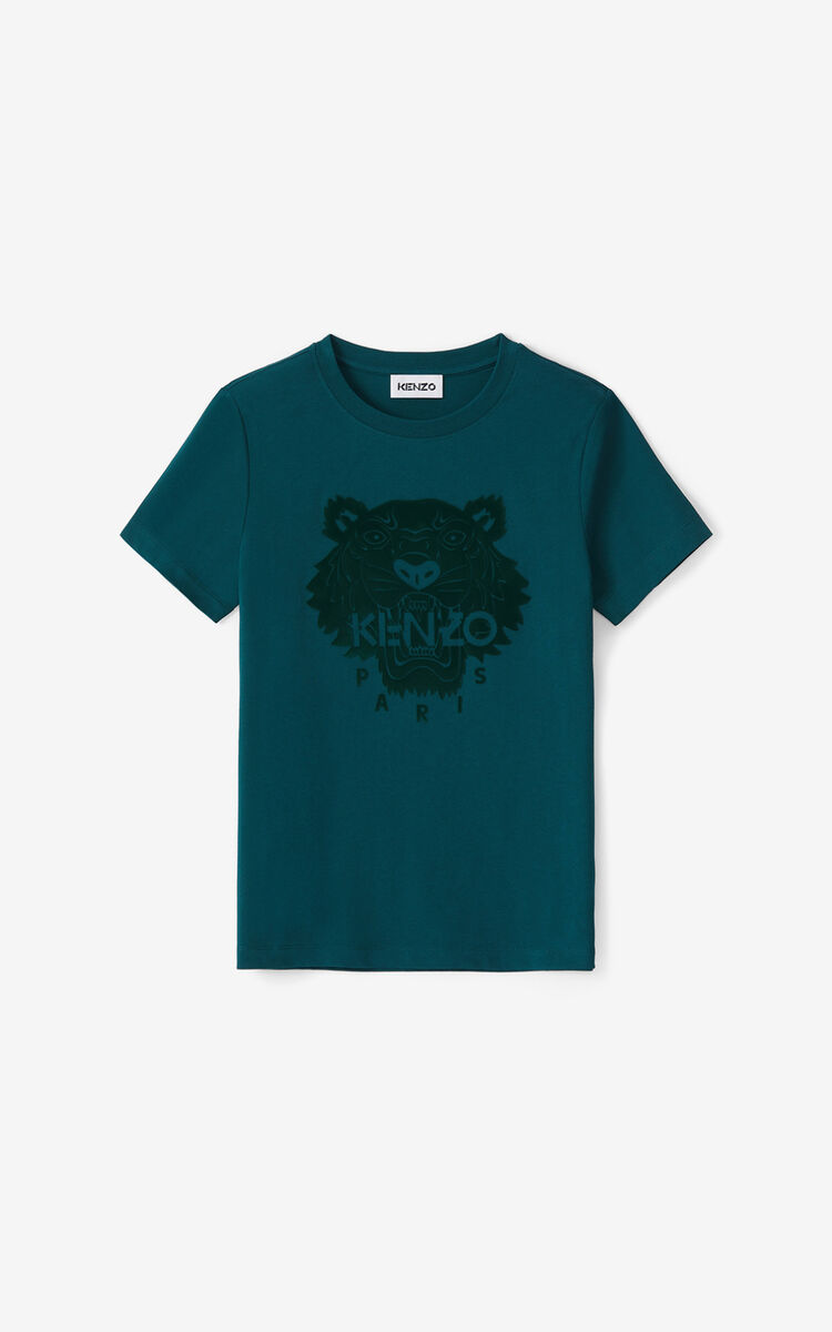 DUCK BLUE Tiger Flock T-shirt for women KENZO