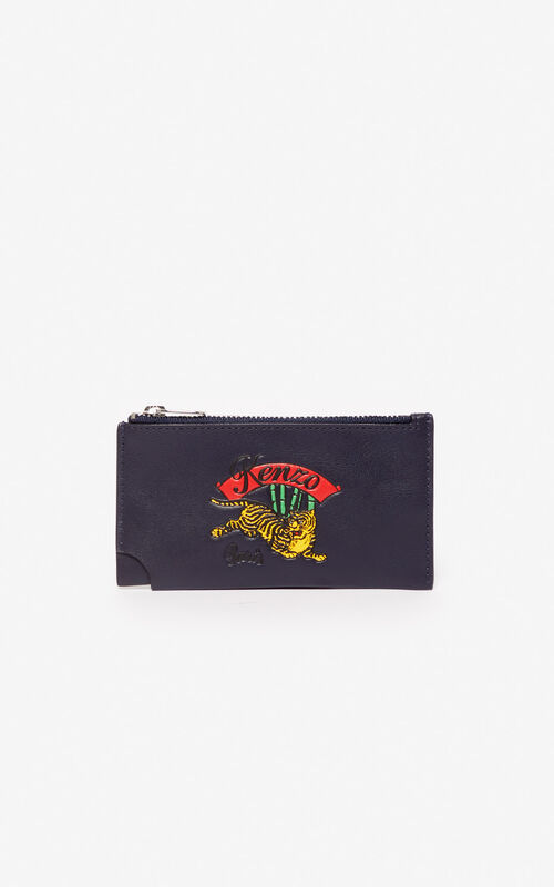NAVY BLUE 'Jumping Tiger' Zipped leather card holder for men KENZO