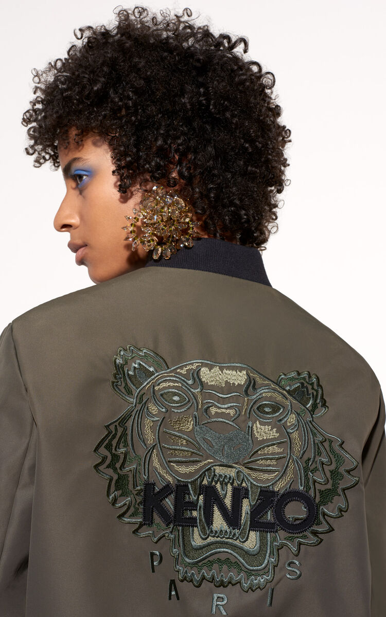 GREEN Tiger Bomber Jacket for women KENZO