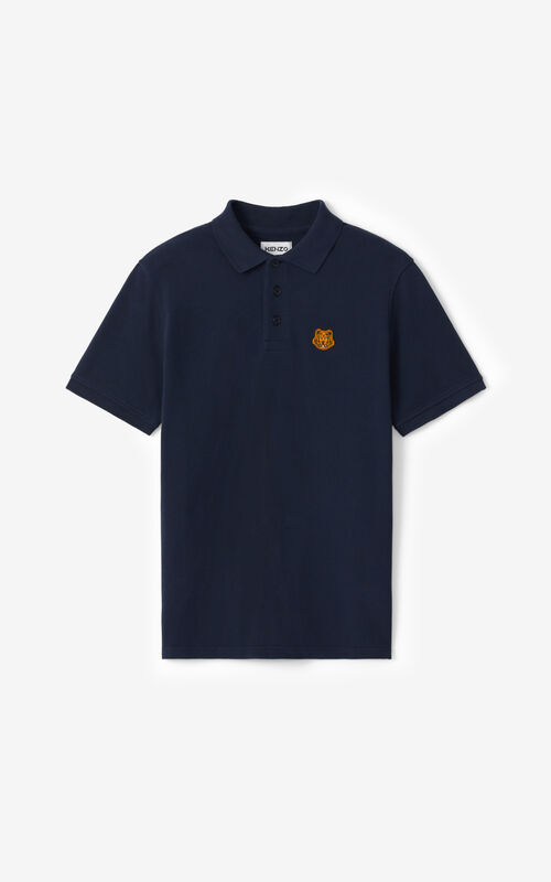 NAVY BLUE Tiger Crest polo for unisex KENZO