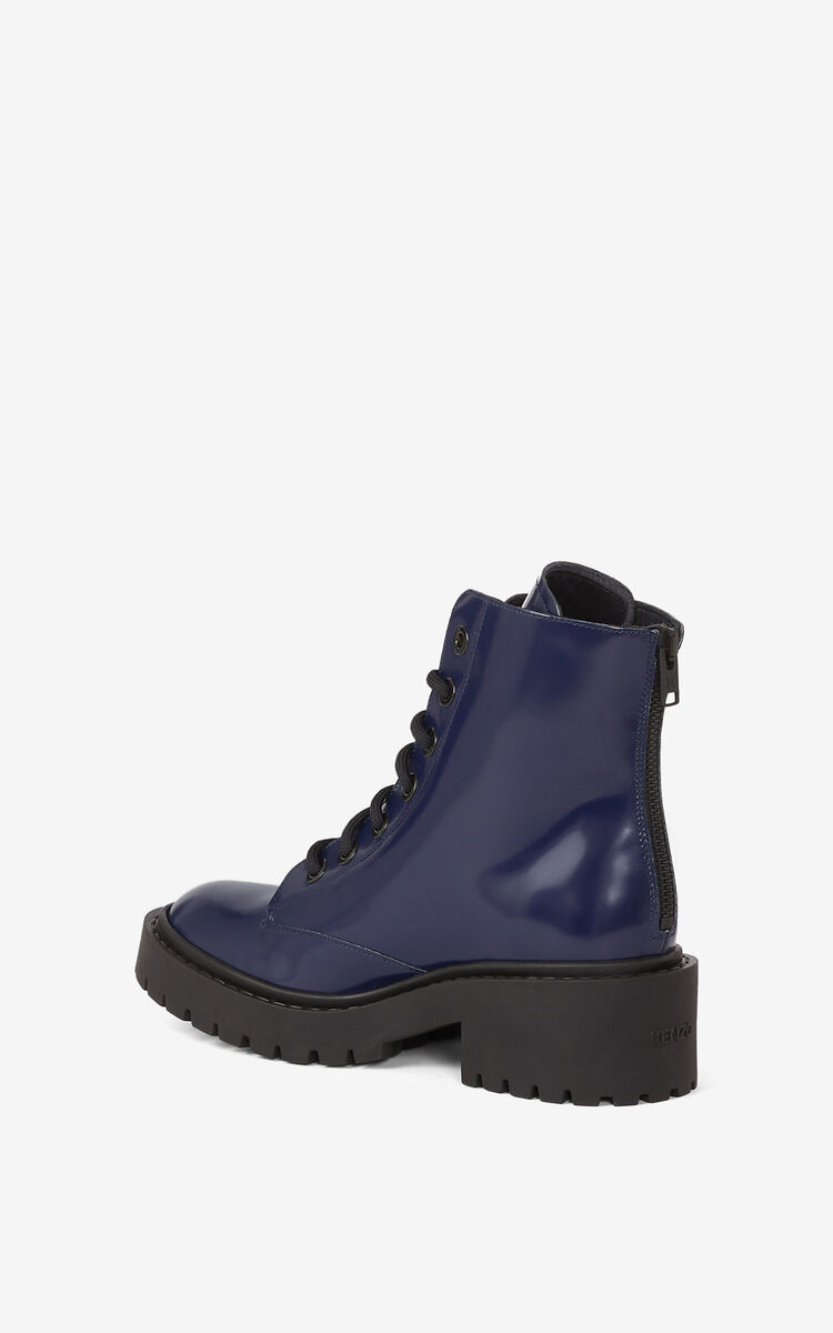 MIDNIGHT BLUE Pike lace-up leather ankle boots for unisex KENZO