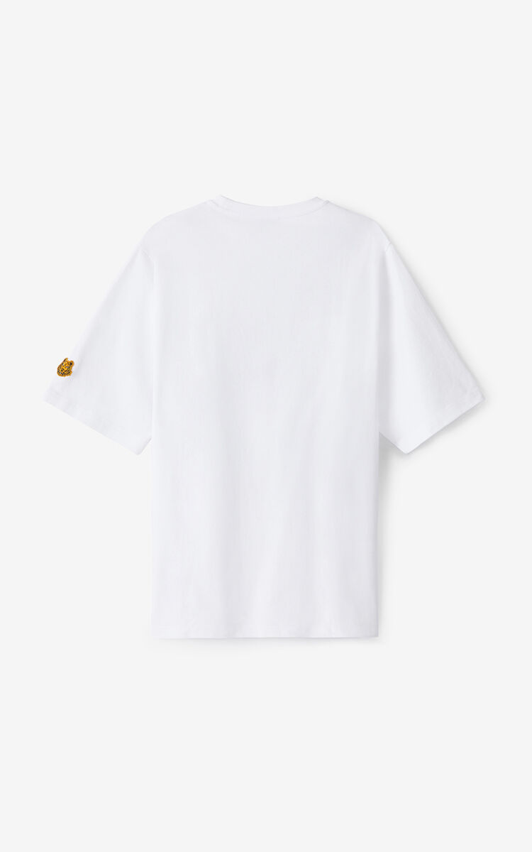 WHITE K-Tiger oversized T-shirt for men KENZO