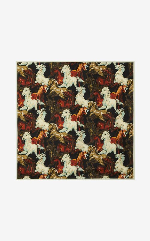 BLACK 'Chevaux KENZO' silk square for men