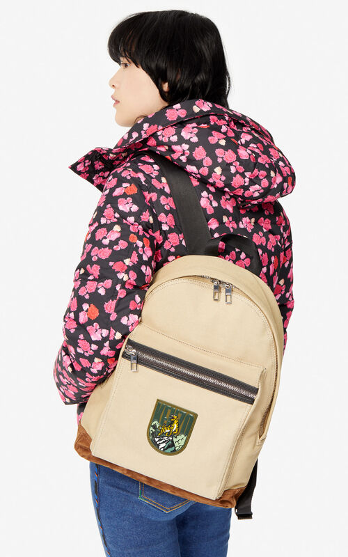 BEIGE Large 'Tiger Mountain' 'Capsule Expedition' backpack for women KENZO