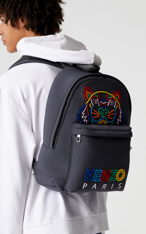 ANTHRACITE 'High Summer Capsule Collection' Tiger large neoprene backpack for men KENZO