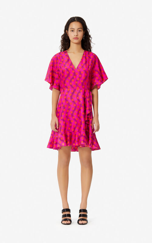 DEEP PINK Silk 'Wave Polka' dress for women KENZO