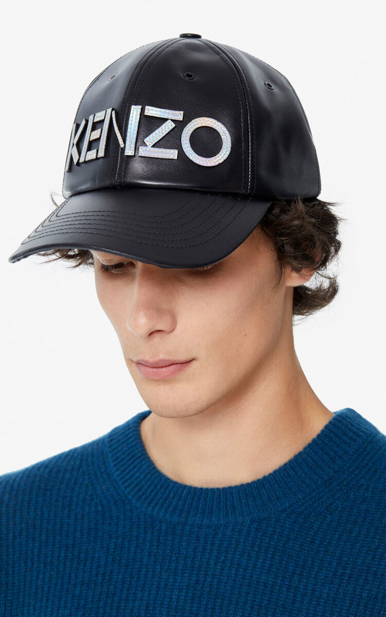 BLACK KENZO Kontrast leather baseball cap for men