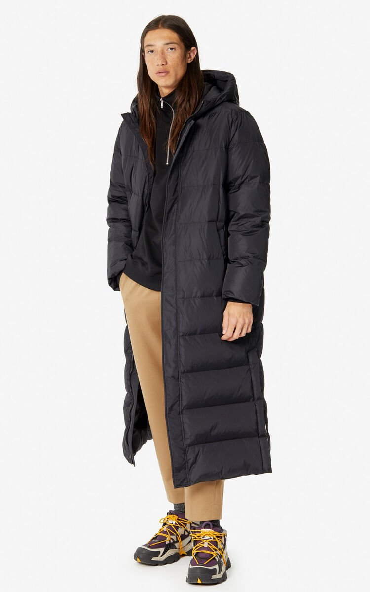BLACK Long quilted 'Capsule Expedition' puffer jacket for women KENZO