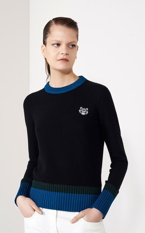 Tiger Crest Sweater, BLACK, KENZO