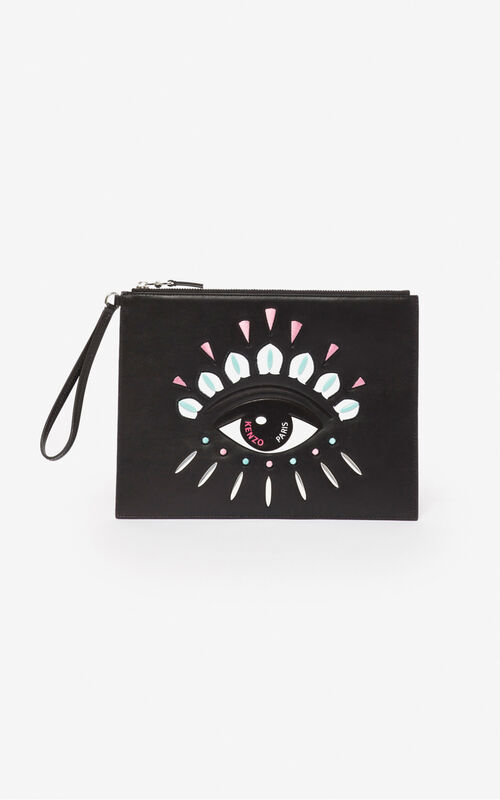 BLACK A4 Kontact Eye clutch for unisex KENZO