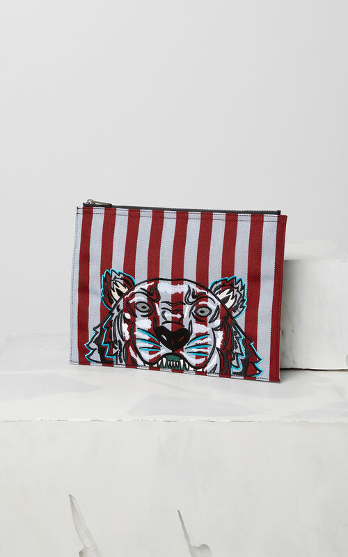 A4 striped Tiger clutch for unisex KENZO