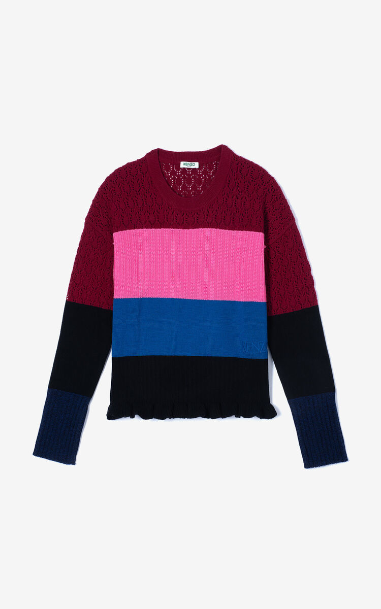 BORDEAUX Wool and cashmere striped jumper for women KENZO