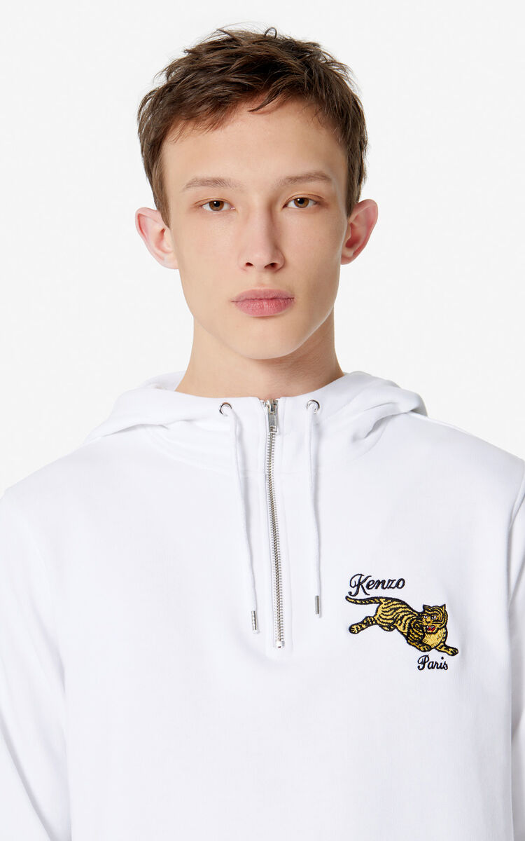 WHITE 'Jumping Tiger' hooded sweatshirt for women KENZO
