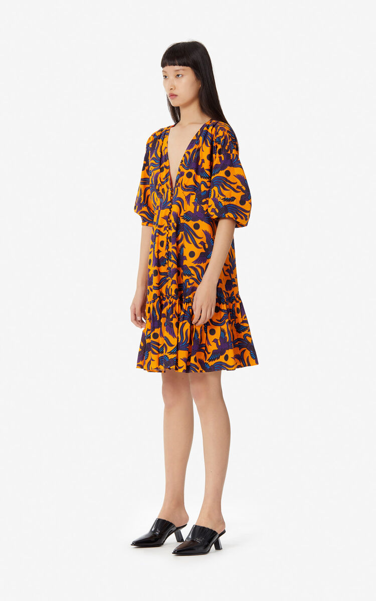 MEDIUM ORANGE 'Flying Phoenix' dress with basque for women KENZO