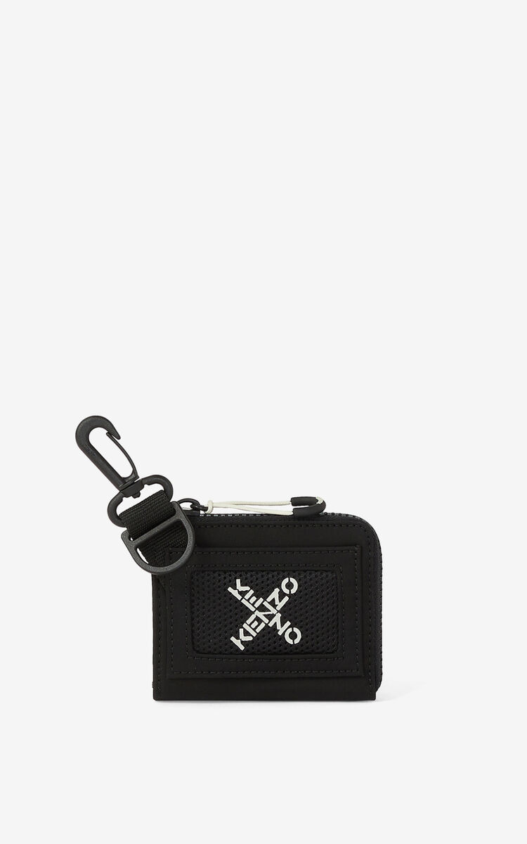 BLACK KENZO Sport 'Little X' small wallet for unisex
