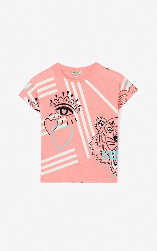 DEEP PINK Multi-icon 'Cali Party' T-shirt for women KENZO