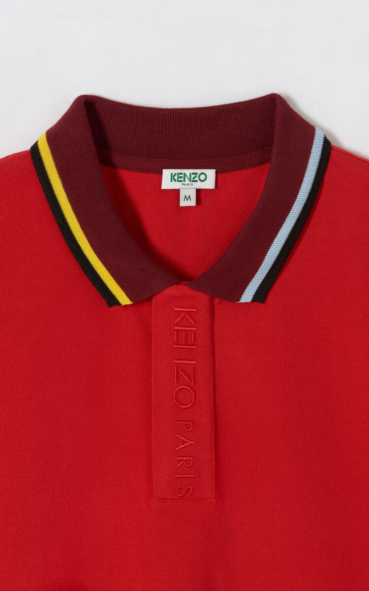 MEDIUM RED Bi-coloured polo shirt for men KENZO