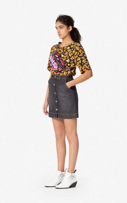 BLACK 'Passion Flower' denim skirt for women KENZO