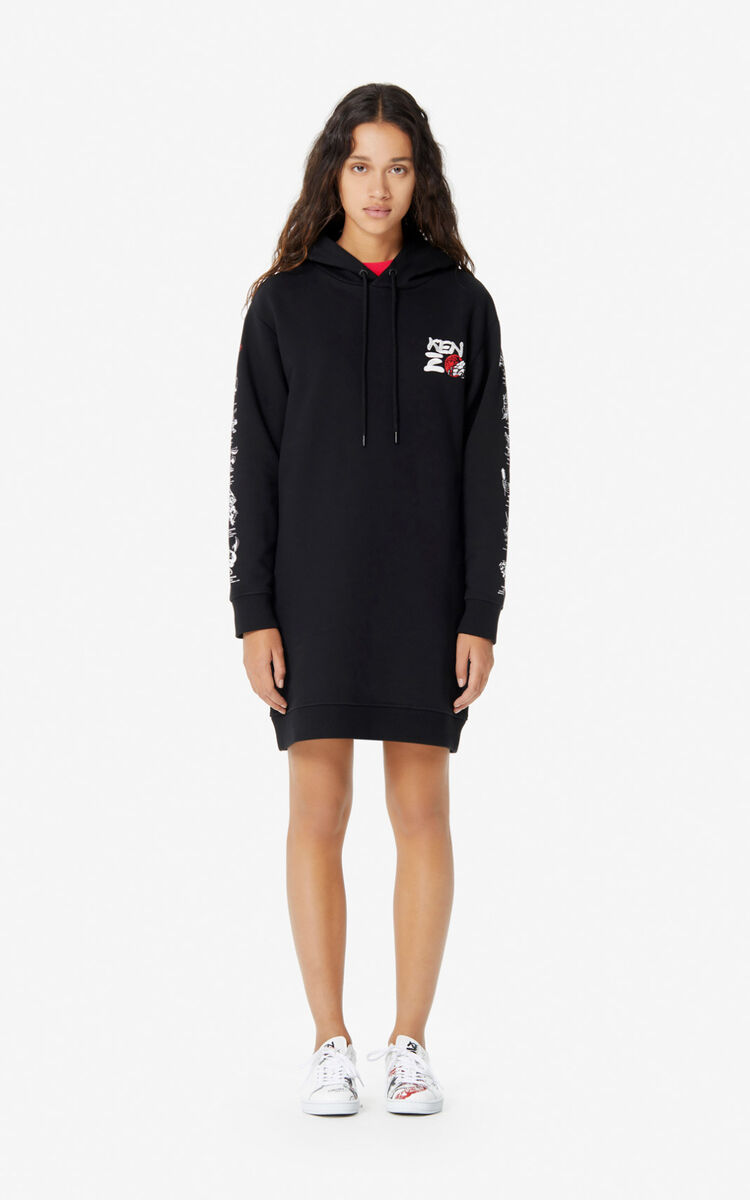 BLACK 'Kung Fu Rat' sweatshirt dress for women KENZO