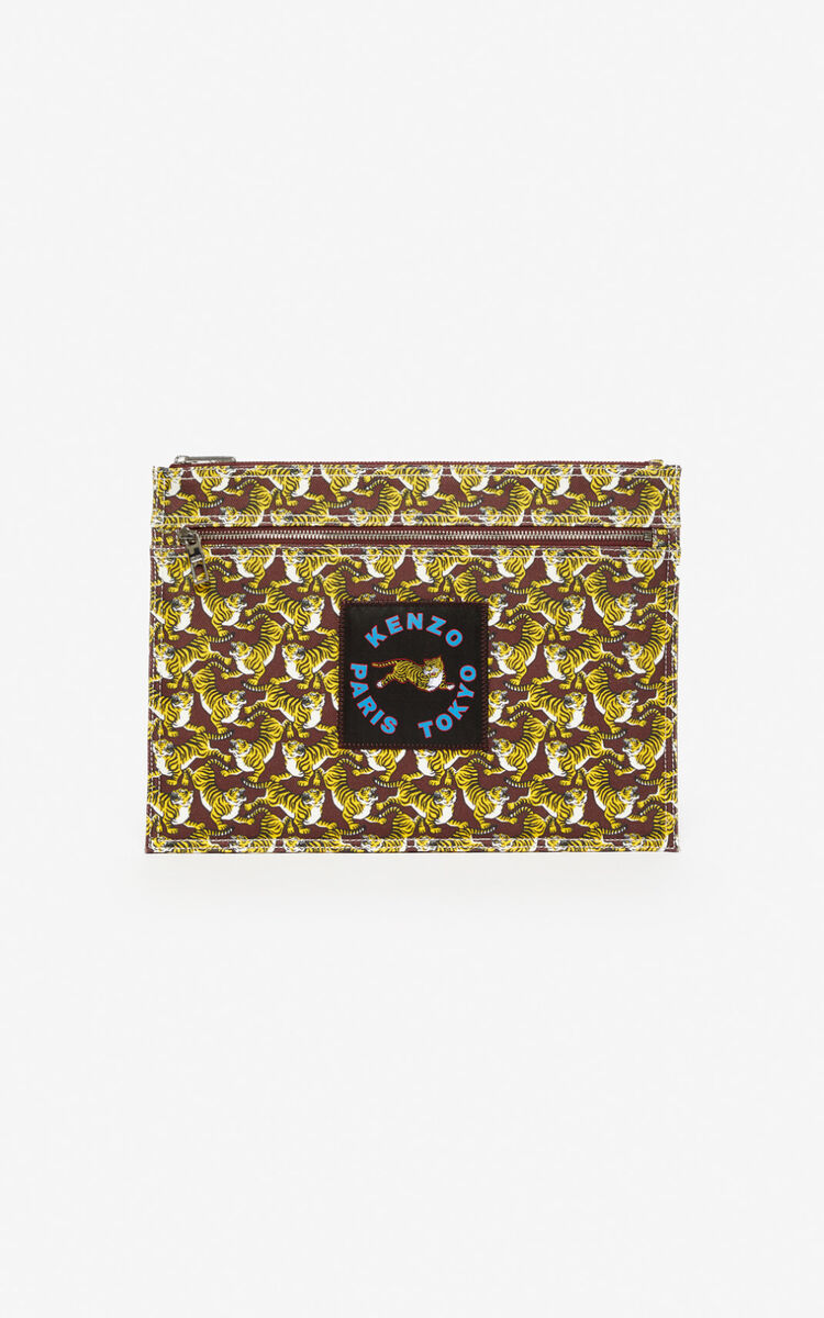 BORDEAUX 'Running Tiger' XL clutch for unisex KENZO