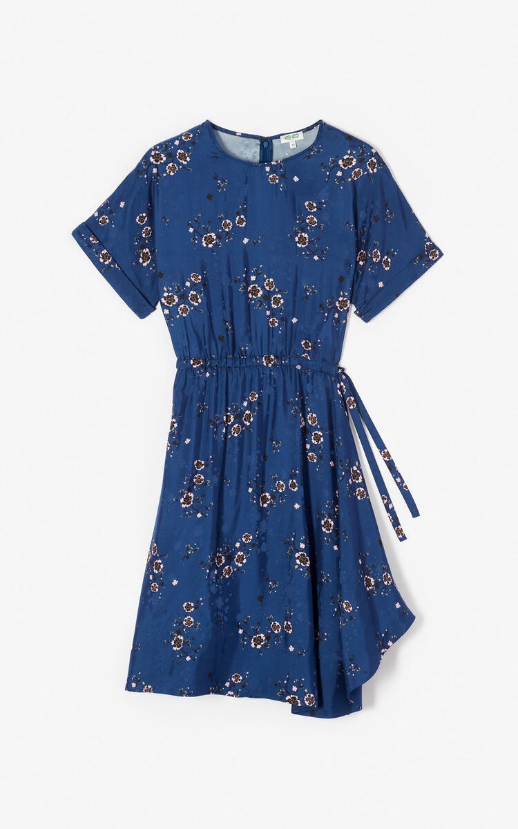 NAVY BLUE 'Cheongsam Flower' flounced dress for women KENZO