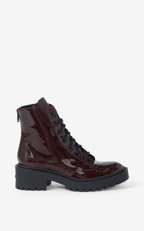 BORDEAUX Pike lace-up leather ankle boots for unisex KENZO