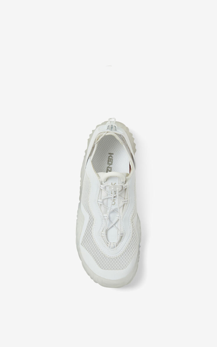 WHITE KENZO Sport Wave mesh trainers for unisex