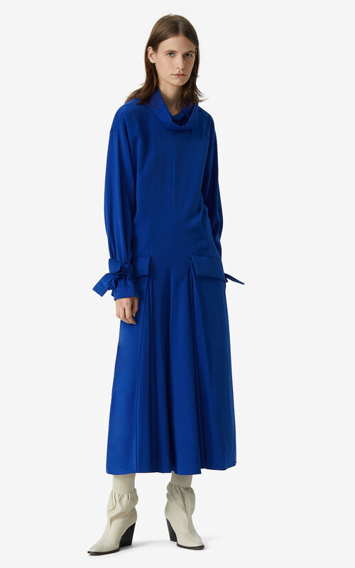 ROYAL BLUE Long flared dress for women KENZO