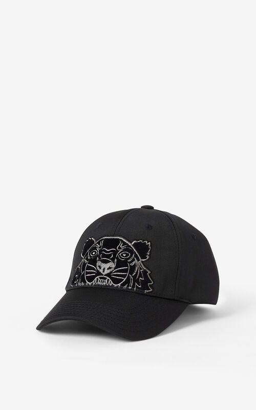 BLACK Kampus Tiger canvas baseball cap for women KENZO